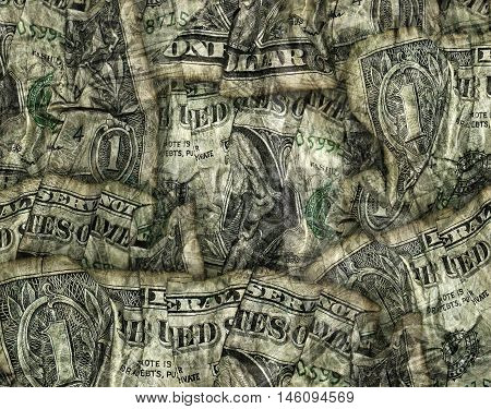 Composite Of Crumpled Folded Dollar Bills