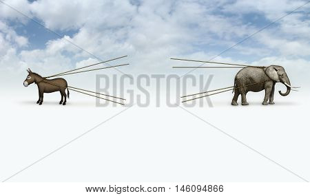 Donkey And Elephant Tug Of War With Blank Area