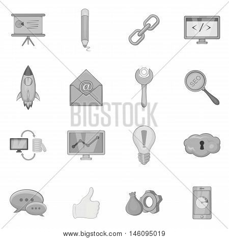 SEO optimization icons set in black monochrome style. Search engine optimization set collection vector illustration