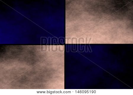 Black background with dark blue and vanilla colored rectangles