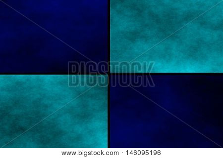 Black background with dark blue and cyan rectangles