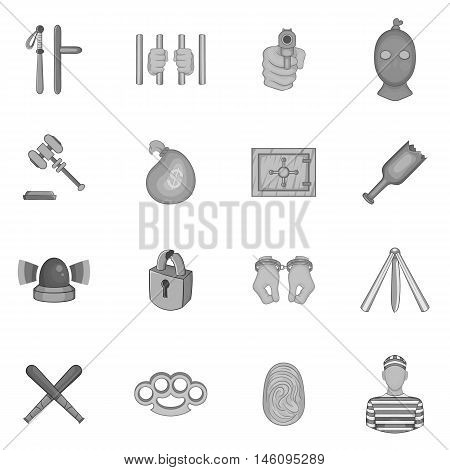 Crime icons set in black monochrome style. Crime and punishment elements set collection vector illustration