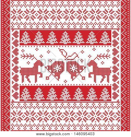 Scandinavian style and Nordic culture inspired Christmas and festive winter square  pattern in cross stitch style with Christmas bell,  tree, reindeer, heart, snowflake, stars, decorative ornaments