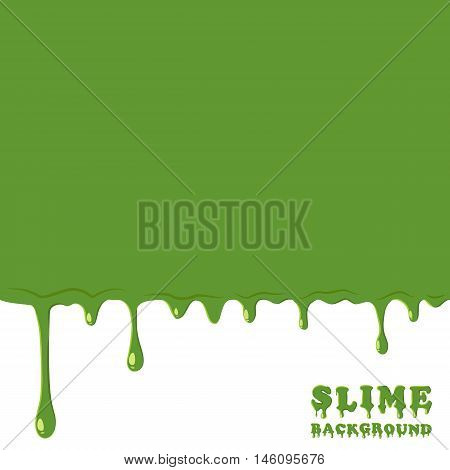 Green slime background. Dripping, oozing slime vector illustration