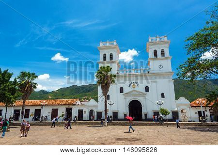 Plaza And Basilica In Giron, Colombia