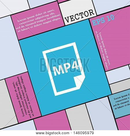 Mp4 Icon Sign. Modern Flat Style For Your Design. Vector
