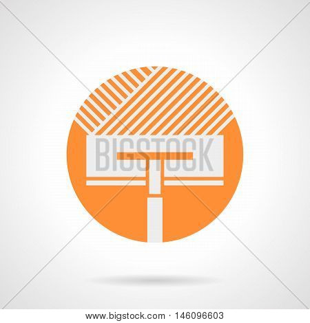 Abstract white silhouette sign of trowel plastering cement or base. Tools for renovation works, flooring and insulation. Installing of floor heating. Orange round flat style vector icon.