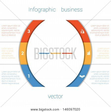 Vector Template Infographic Three Position. Colorful Semicircles and White Strips for Text Area. Business Area Chart Diagram Data.