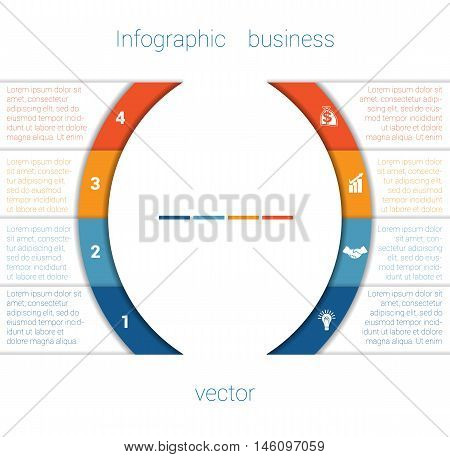 Vector Template Infographic Four Position. Colorful Semicircles and White Strips for Text Area. Business Area Chart Diagram Data.