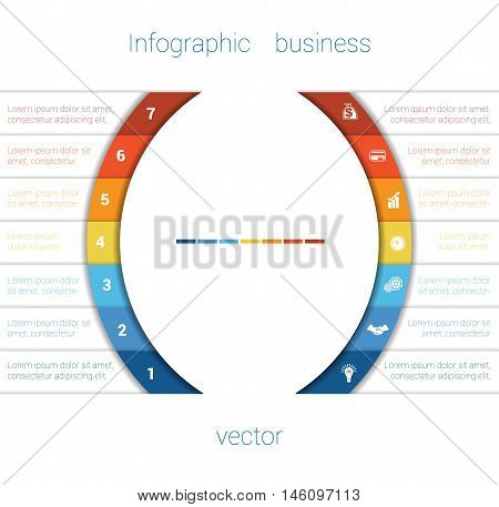 Vector Template Infographic Seven Position. Colorful Semicircles and White Strips for Text Area. Business Area Chart Diagram Data.
