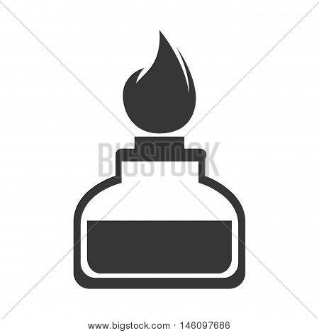 spirit lamp chemical alcohol fire burner. silhouette vector illustration