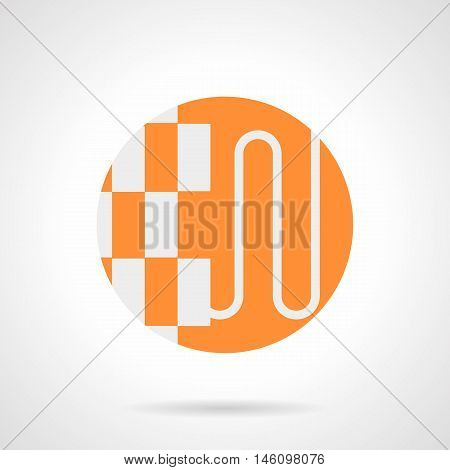 Abstract white silhouette sign of structure of heat-insulated floor. Underfloor heating installation manual and services. Parquet and pipes. Orange round flat style vector icon.