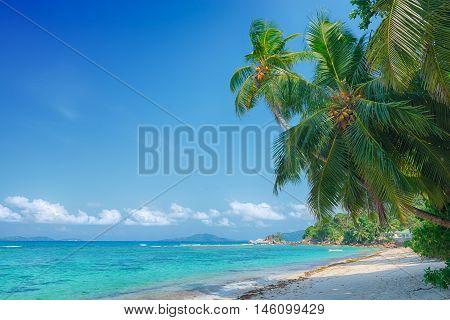 tropical beach anse pasquiere on praslin island seychelles
