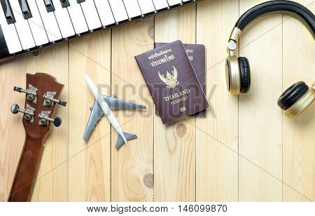 Musician travel objects summer vacation preparation with copy space.