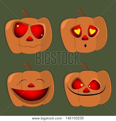 Set of pumpkins of different characters halloween face vector