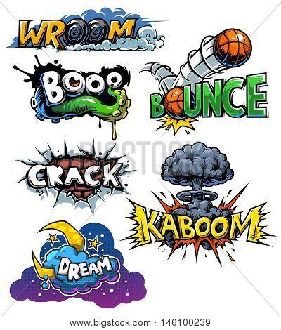 Vector set of comics icons. Explosion bubbles. Comic book explosion set