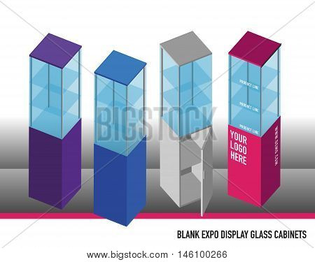 Mixed Colors Custom Blank Expo Display Glass Cabinets