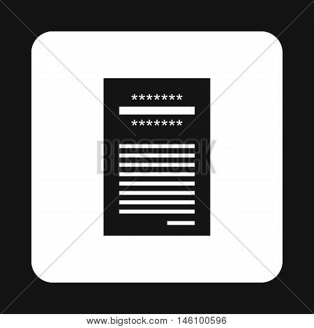Sales printed receipt icon in simple style on a white background vector illustration