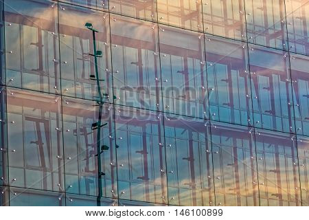 Glass windows of the modern building in the main city Zagreb, Croatia.