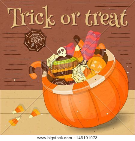 Jack-o-lantern Candy Basket with Pile of Colorful Halloween Sweet Treats. Halloween Pumpkin. Vector Illustration.