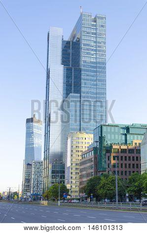 Sunrise in Warsaw business city center street