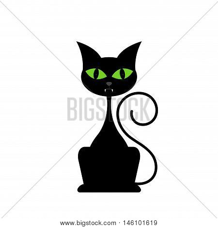Black cat isolated on white background. Vector illustration.