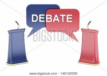 Debate concept with microphones and tribunes 3D rendering isolated on white background