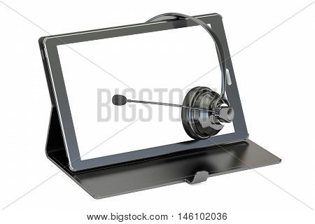 Headset and tablet 3D rendering isolated on white background