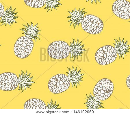 Summer Tropical seamless pattern. Funky Pineapples on yellow background.