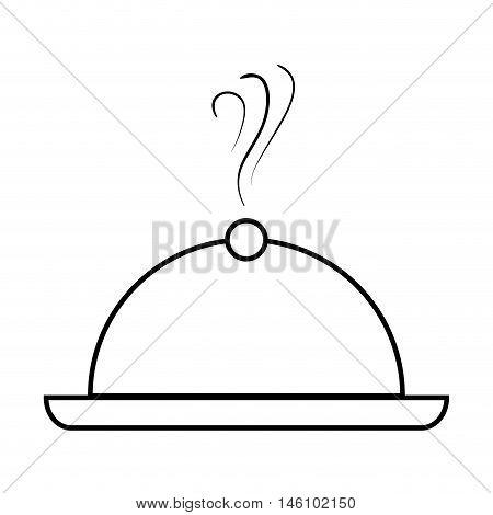 restaurant  metal platter catering waiter  service. silhouette vector illustration