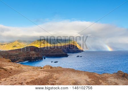 Sunrise And Beautiful Rainbow Over Ponta De Sao Lourenco, Madeira, Portuga
