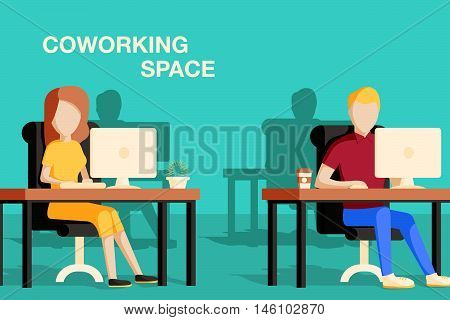 Coworking space vector illustration. people working in the office