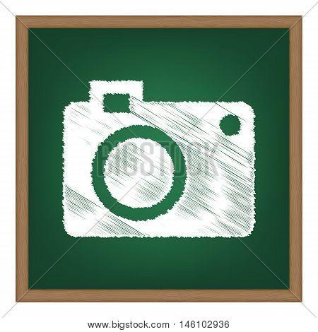 Digital Camera Sign. White Chalk Effect On Green School Board.