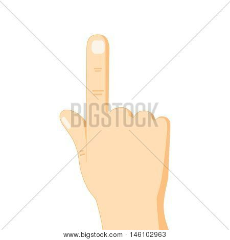 flat design hand pointing with index finger icon vector illustration