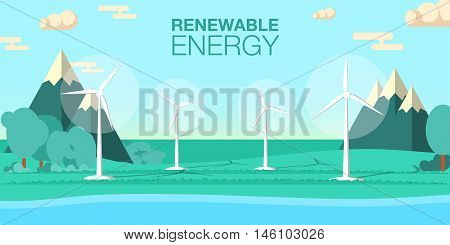 Renewable energy vector illustration. Three white wind generator turbines on river bank. Wind power concept. Windmills for electric power production. Modern alternative energy generation.