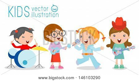 Kids and music, vector illustration of four girl in a music band, Children playing Musical Instruments,illustration of Kids playing different musical instruments,Vector Illustration