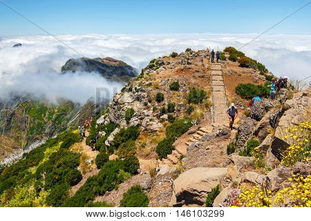 Madeira, Portugal 02 July, 2016: Unidentified People Hiking On Pico Ruivo Summit In Central Madeira,