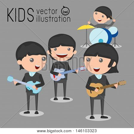 Kids and music, vector illustration of four kids in a music band, Children playing Musical Instruments,illustration of Kids playing different musical instruments,Vector Illustration