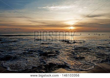 Sunset on the beach, dreamland beach, Indonesia, Bali