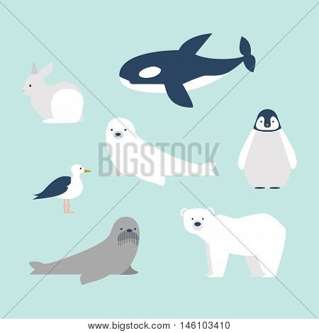 Set of seven arctic and antarctic animals. Polar bear, baby penguin, seal, walrus, white rabbit, whale and sea gull