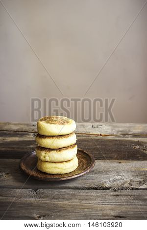 Cottage Cheese Pancakes On Wooden Table.