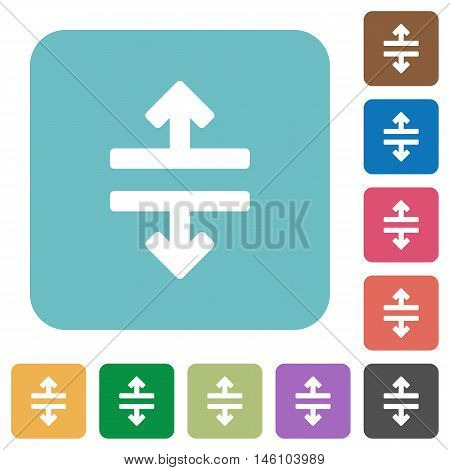 Flat horizontal split icons on rounded square color backgrounds.