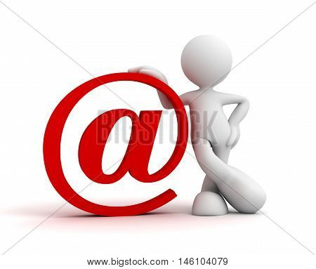 e mail sign and man 3d illustration isolated on white background