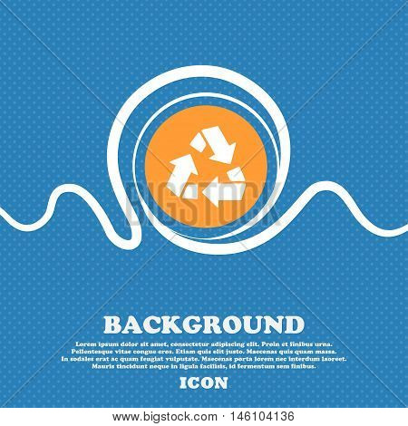 Recycle Icon Sign. Blue And White Abstract Background Flecked With Space For Text And Your Design. V