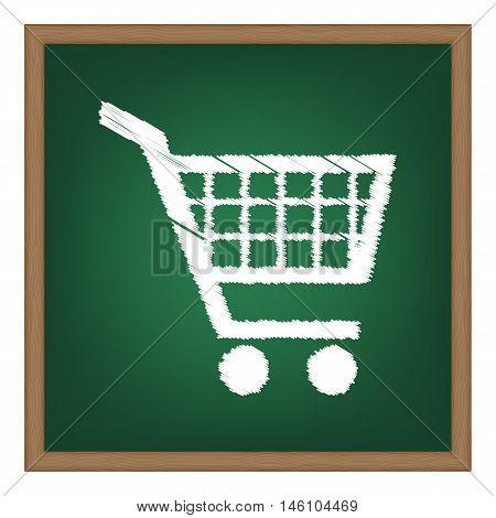 Shopping Cart Sign. White Chalk Effect On Green School Board.