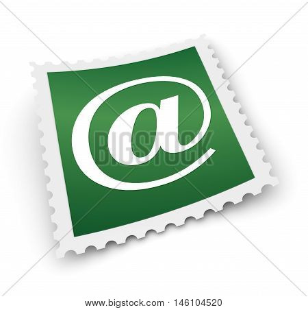 e mail postage stamp 3d illustration isolated on white background