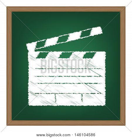 Film Clap Board Cinema Sign. White Chalk Effect On Green School Board.