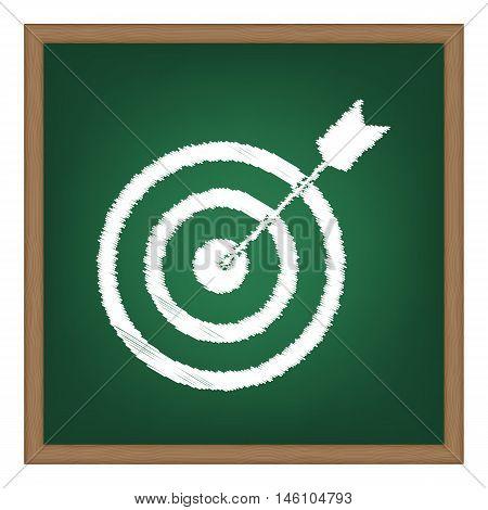 Target With Dart. White Chalk Effect On Green School Board.