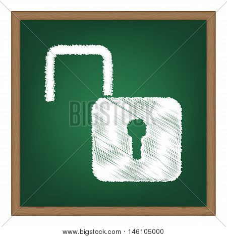 Unlock Sign Illustration. White Chalk Effect On Green School Board.
