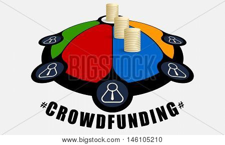 Colored info graphic with theme of crowd funding